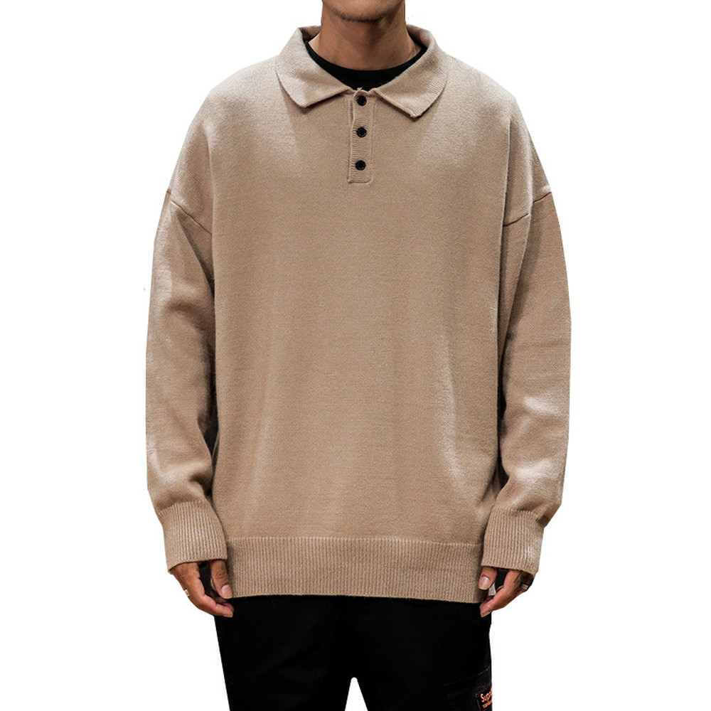 Winter Thicken Sweater Men Warm Fashion Solid Color Casual Lapel Knit Pullover Man Streetwear Long Sleeve Sweter Clothes M-5XL