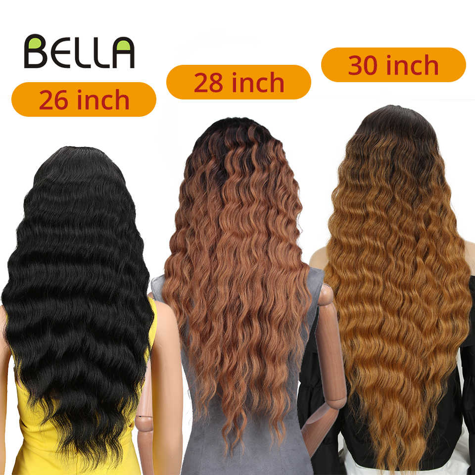 Pelucas delanteras de encaje Deep Wave Mid Part Ombre Blonde Tan bLack 6 colores disponibles Pelucas delanteras de encaje sintético de 30 pulgadas para mujer Bella Peluca sintética 100% Live Real Shot