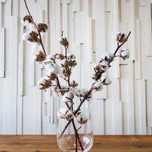 Fleur de coton séchée naturellement, longue branche avec 10 têtes, 1 pièce de 50cm, Bouquet de couronne de Kapok artificiel bricolage-même, décoration de maison pour mariage