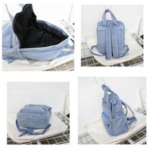 Image 4 - Denim School Bag Teenager Backpack Ladies High Capacity Women Backpacks 2019 Travel Bag Students Mochila Bolsa harajuku backpack