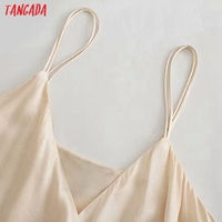 Tangada Women's Summer Dress Fashion Solid Satin Dresses with Slash Bow Female Casual Beach Dress 3H287 2