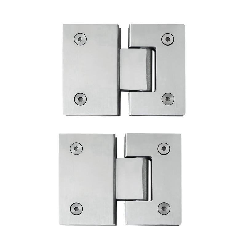 2Pcs Heavy Duty 180 Degree Glass Door Cupboard Showcase Cabinet Clamp Glass Shower Doors Hinge Replacement Parts