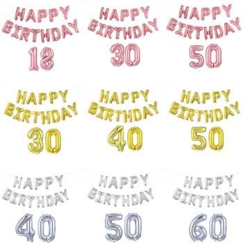 1 Juego de Globos de helio de 16 pulgadas de oro rosa feliz Birthday con número de letra de aluminio 18 21 30 40 50 60 Globos de decoración de fiesta de cumpleaños para adultos