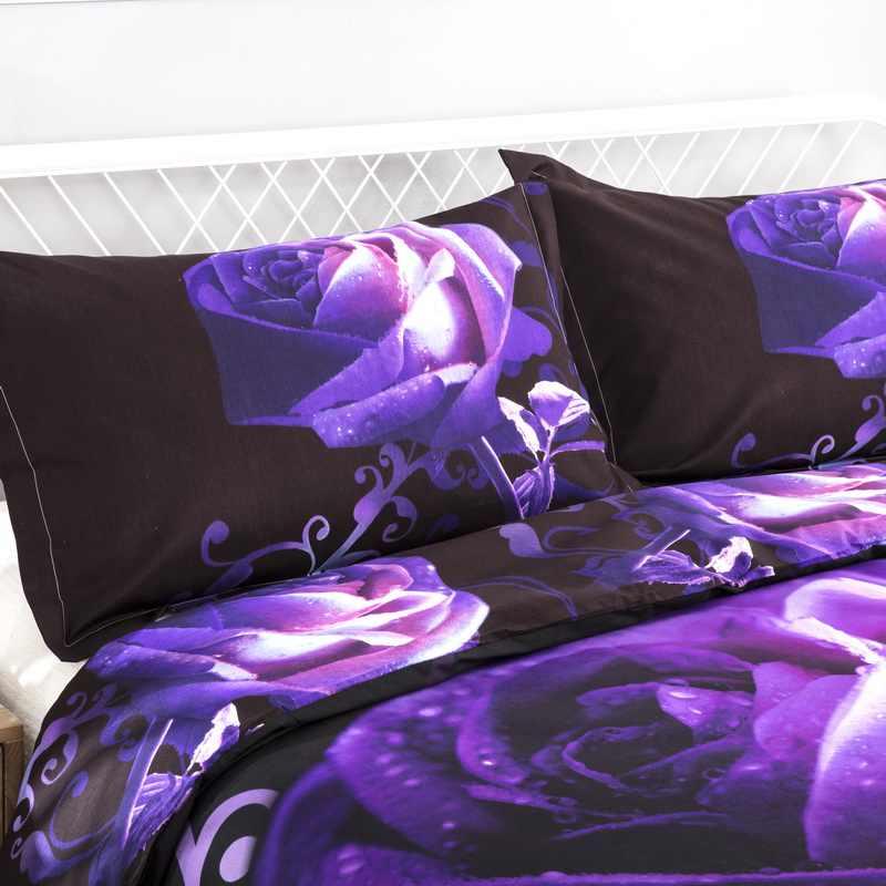3D ropa de cama Rosa edredón juego de cama reina 3 piezas ropa de cama para adultos flores púrpura juego de cama
