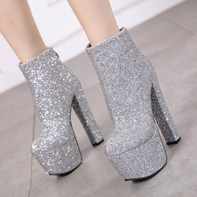 цена на women snow bling boots Fashion  ankle boots high heels black high boots Autumn Winter Woman snow Shoes fur boots short YMA919