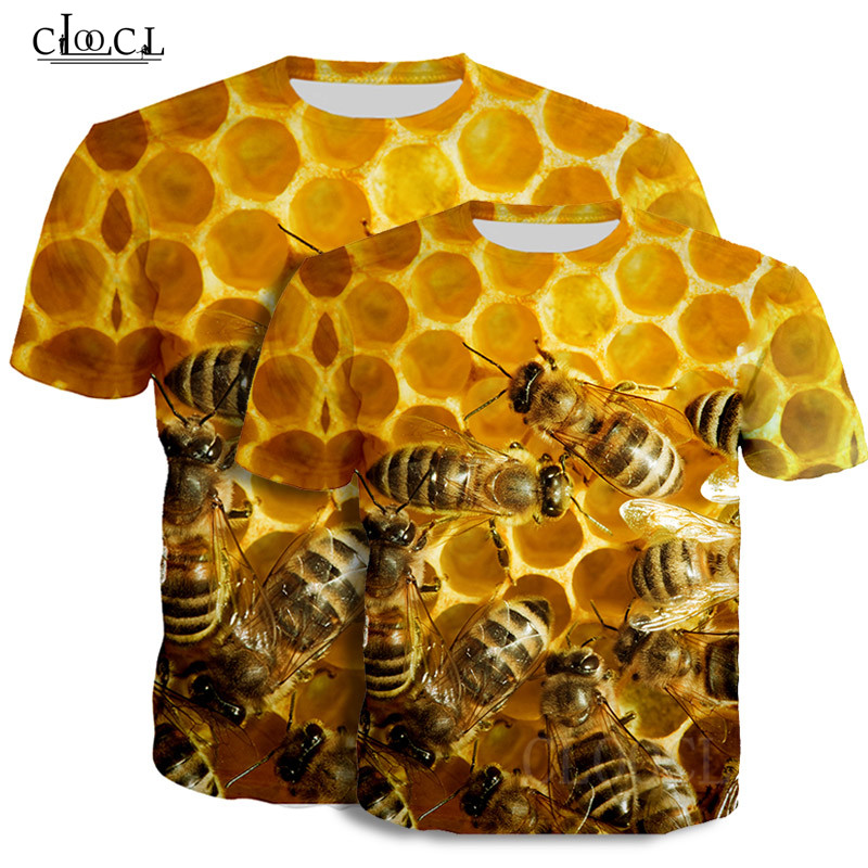 Bees Men T-Shirt Tshirt Women Little Bee Honey Pattern 3D Printed Short Sleeve T Shirt Harajuku Streetwear Summer Tops Tee Shirt (2)