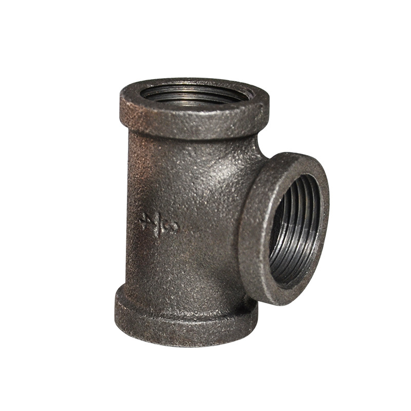 Black Product Tee Fitting Rough Malleable Iron Pipe Not Galvanized Joint Crafts Loft Accessories Commodity Shelf Fitting