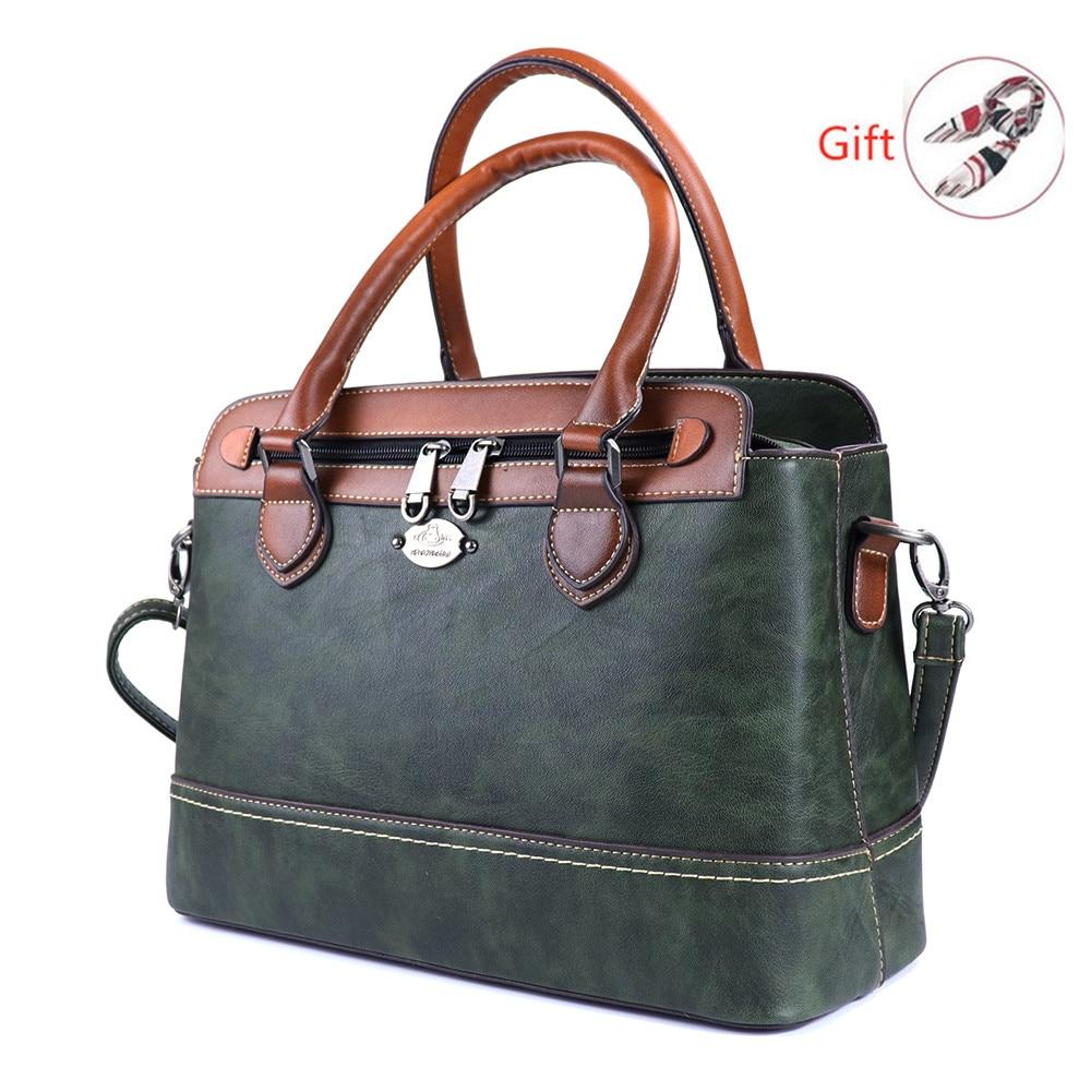 2019 Retro Portable Genuine Leather Women HandBag Fashion Contrast Casual Brush Single Shoulder Bag For Women Messenger Bags RU