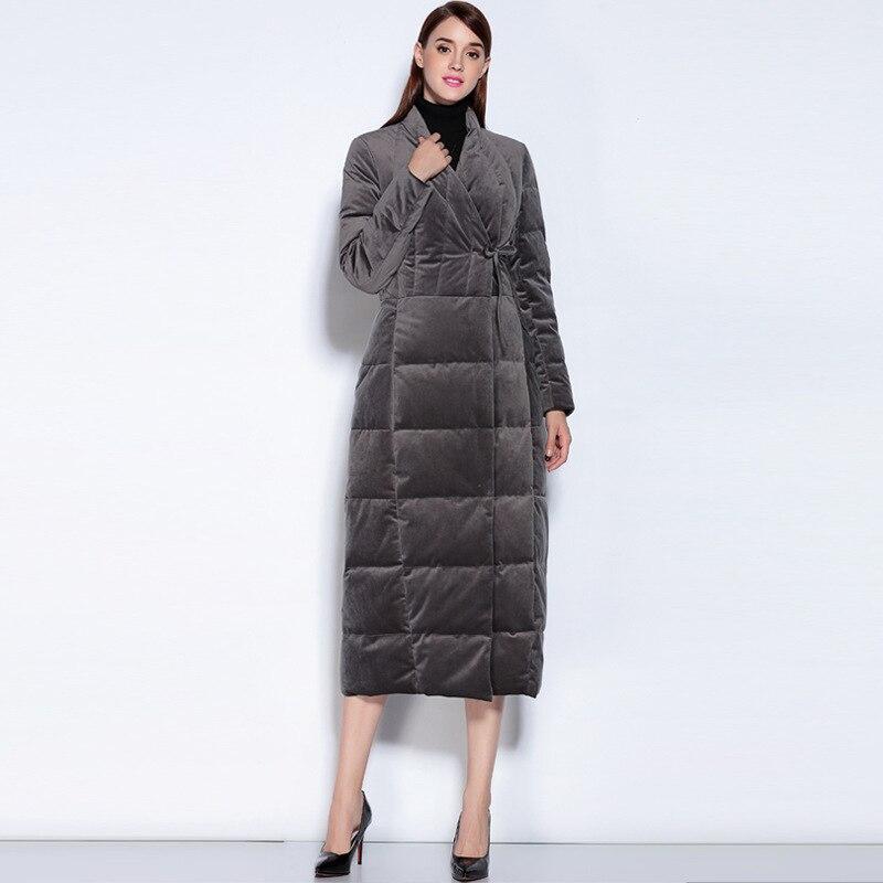Down Women Jacket Slim X-long Coat Female Jacket Taffeta Winter Warm Duck Down Jackets Outwear Doudoune Femme Yr16032 S