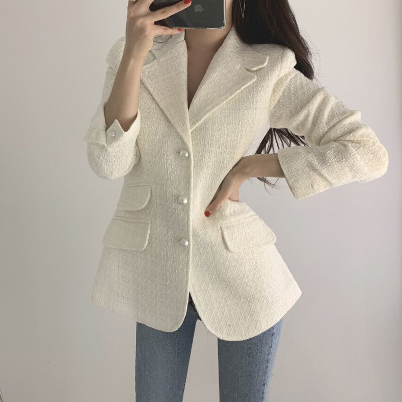 Vintage Tweed Plaid Blazer Women Buttons Single Breast Office Ladies Blazer Jackets Autumn Winter Work Wear Female Blazer Coats
