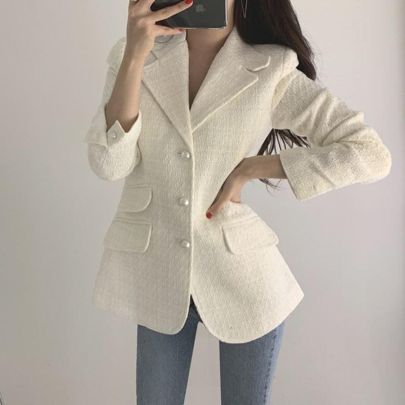 Vintage Tweed Plaid Blazer Women Buttons Single Breast Office Ladies Blazer Jackets Autumn Winter Work Wear Female Blazer Coats
