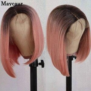 Maycaur preto ombre rosa loira curto bob peruca dianteira do laço sintético natural cabelo reto perucas do laço com o cabelo do bebê para as mulheres