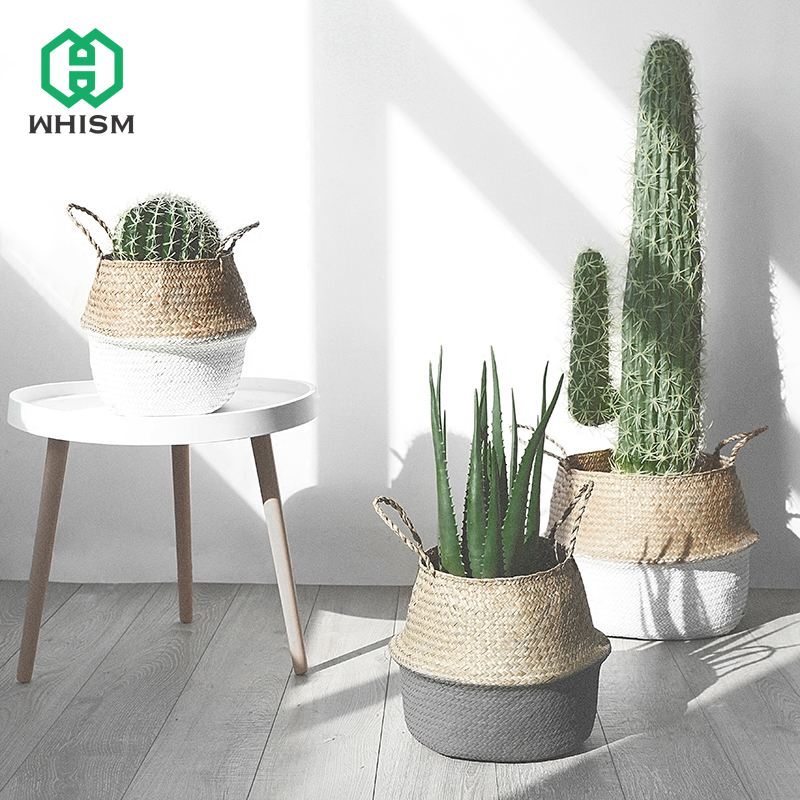 WHISM Storage Basket Rattan Straw Basket Wicker Folding Flower Pot Seagrasss Flower Baskets Garden Planter Flower Pot