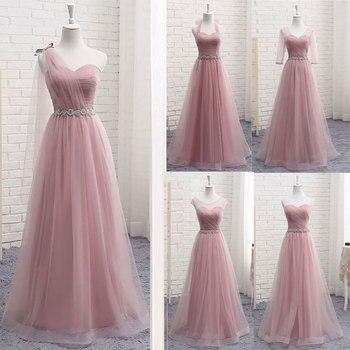 Brautjungfer Kleider Lange Sexy V-ausschnitt 2020 EINE Linie Tüll Party Kleid Hochzeit-Gast Vestidos De Novia Vestido de dama de honor Heißer