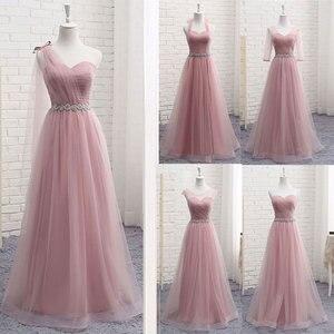 Bridesmaid Dresses Long Sexy V Neck 2020 A Line Tulle Party Dress Wedding-Guest Vestidos De Novia Vestido de dama de honor Hot