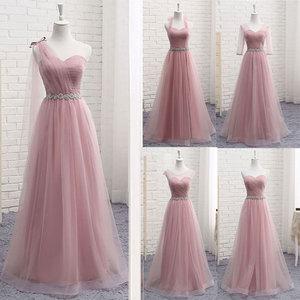 Image 1 - Heißer V Neck Brautjungfer Kleider lange für Frauen Elegante 2020 EINE Linie Sparkly Tüll Rosa Party Kleid für Hochzeit Party plus Größe