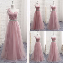 فستان لوصيفات العروس بياقة على شكل V طويل للسيدات أنيق 2020 A Line سباركلي تول وردي للحفلات الزفاف مقاس كبير
