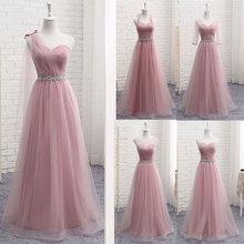 חם V צוואר שושבינה שמלות ארוך לנשים אלגנטי 2020 קו נוצץ טול ורוד מסיבת שמלה למסיבת חתונה בתוספת גודל