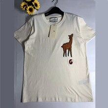 Есть логотип, модная летняя футболка для женщин, Повседневная хлопковая Футболка с буквенным принтом жирафа, модные топы, футболки, бежевые женские футболки