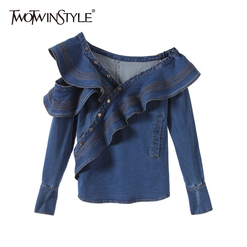 TWOTWINSTYLE Ruffle Denim Shirt Tops Female Long Sleeve Off Shoulder Sexy Blouose Women Fashion Clothes 2019 Autumn New
