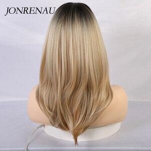 Image 4 - JONRENAU peluca largo sintético con flequillo de raíz oscura, cabello marrón degradado, pelucas de alta calidad con ondas naturales para mujeres blancas/negras
