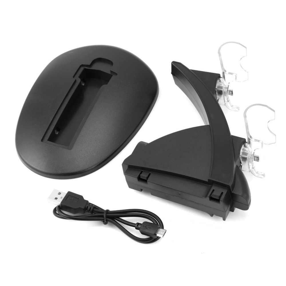 Yeni LED çift USB şarj şarj doku standı Cradle yerleştirme istasyonu Sony Playstation 4 için PS4 oyun oyun konsolu denetleyici