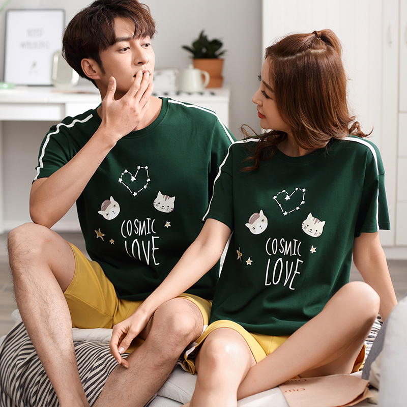 2019 Couple Pajama Set Summer Pyjama Femme Cotton Short Sleeved Men And Women Sleepwear Stich Pijama Casual Lover Home Wear