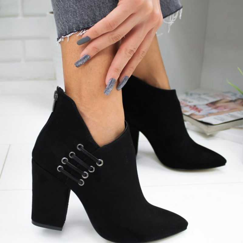 Litthing moda kadın bot ayakkabı ayak bileği seksi çizmeler kısa yarım çizmeler yüksek topuk moda sivri avrupa ayakkabı kadın artı boyutu 43