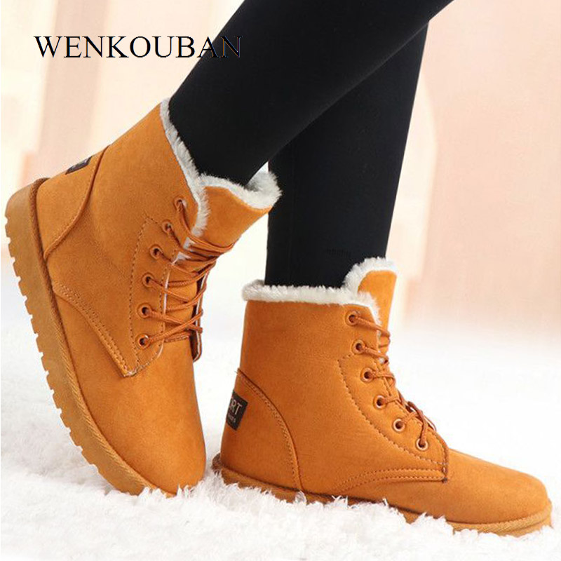 Winter Boots Women Snow Ankle Boots Female Warm Lace Up Rubber Shoes Suede Platform Boots Plush Insole Botas Mujer Invierno 2019