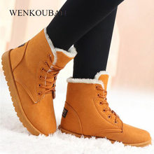Winter Boots Women Snow Ankle Boots Female Warm Lace Up Rubber Shoes Suede Platform Boots Plush Insole Botas Mujer Invierno 2020(China)