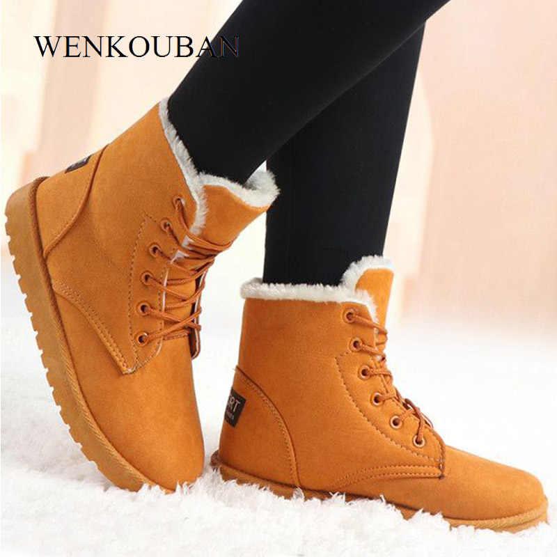 Winter Stiefel Frauen Schnee Stiefeletten Weibliche Warme Spitze Up Gummi Schuhe Wildleder Plattform Stiefel Plüsch Einlegesohle Botas Mujer Invierno 2020