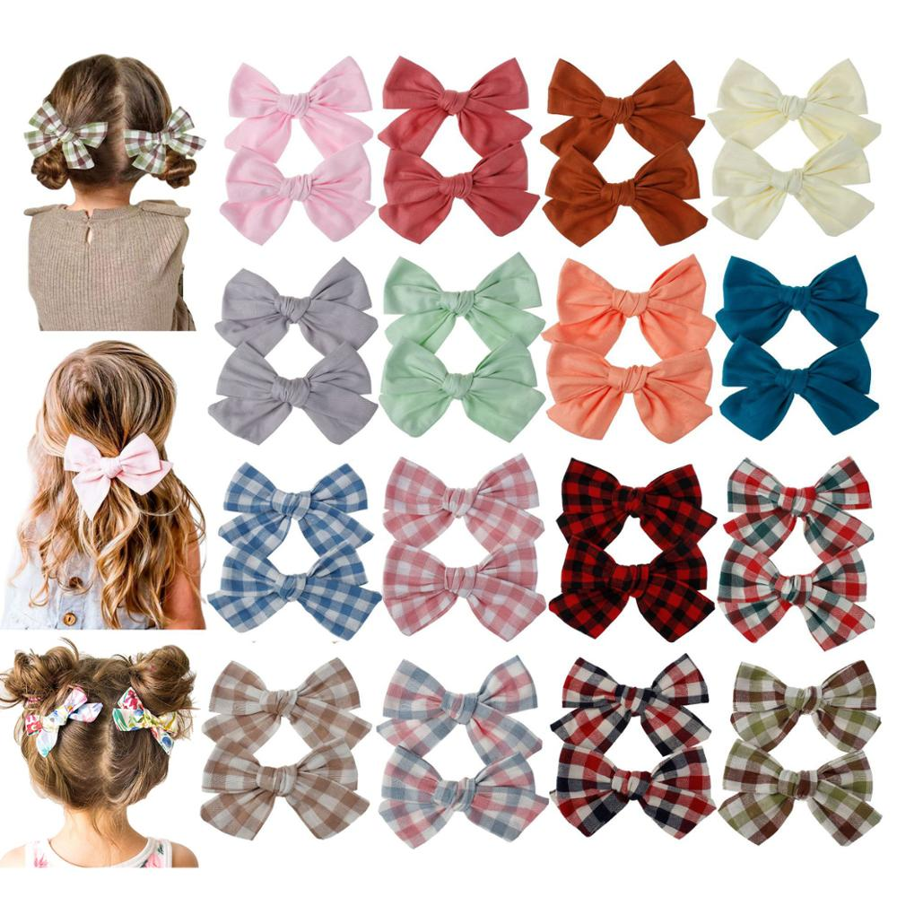 Детские Заколки для волос Шпильки с цветочным принтом для девочек, повязка на голову, детские клетчатые заколки хлопок заколка для волос, DIY ...