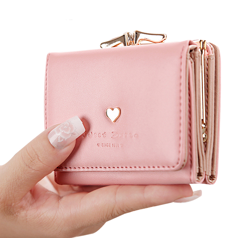 Wallet Folding Coin-Purse Short Pu-Card-Holder Cute Rivet Retro Love