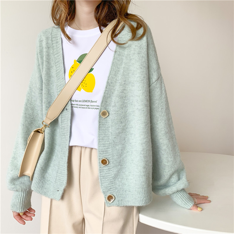 H.SA 2020 Spring Autumn Women Casual Sweater and Cardigans Lantern Image