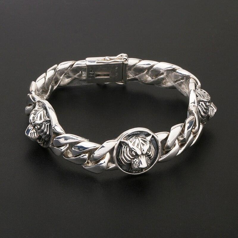 Pur argent S925 tête de tigre Bracelet Bracelet en argent Sterling 925 bijoux masculins