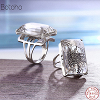 New Sterling Silver Jewelry 925 Ring Natural Crystal Party Midi Rings For Women Gemstone Elegant Fine Jewelry Mother's Day gift