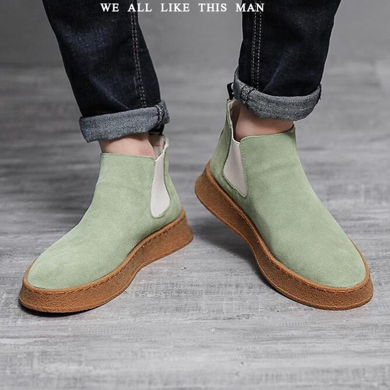 Cow Suede Leather Men s Boots Plus Velvet Warm Casual Shoes Slip On Suede New Tide
