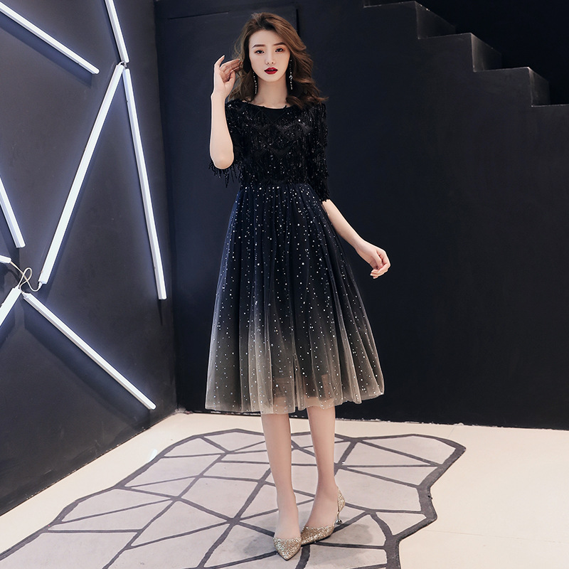 Simple And Elegant Dress Fairy Of Short-height Black And White With Pattern Party Banquet Evening Dress Mid-length