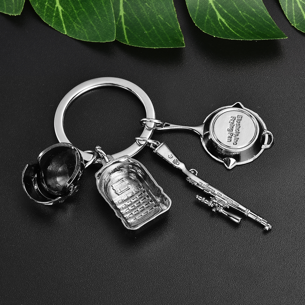 Mini Fancier PUBG Eat Chicken Key Ring Pendant Battle Frying Pan Helmet 98k Keychain Jewelry 3D Gift