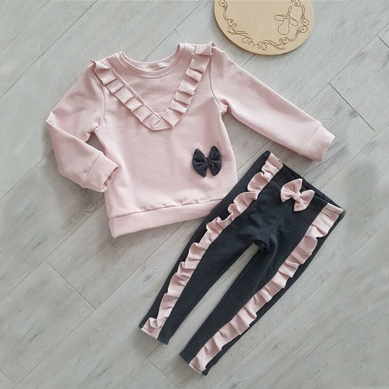 PUDCOCO Sweets Toddler Kid Baby Girl Shirt Top + Long Pants Trousers Outfits Clothes Set Support Wholesale