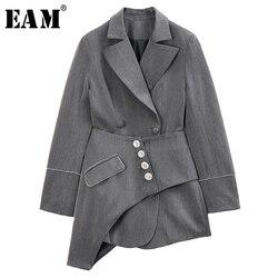 Женская куртка EAM, серая ассиметричная, с отворотом и длинным рукавом, весенняя, 2020