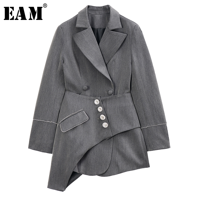 [EAM] Loose Fit Gray Asymmetrical Stitch Two Piece Jacket New Lapel Long Sleeve Women Coat Fashion Tide Spring 2020 1R741|Jackets| - AliExpress