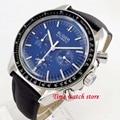 Bliger 40 мм автоматические механические наручные часы для мужчин водонепроницаемый синий strile циферблат черный ободок холст кожаный ремешок