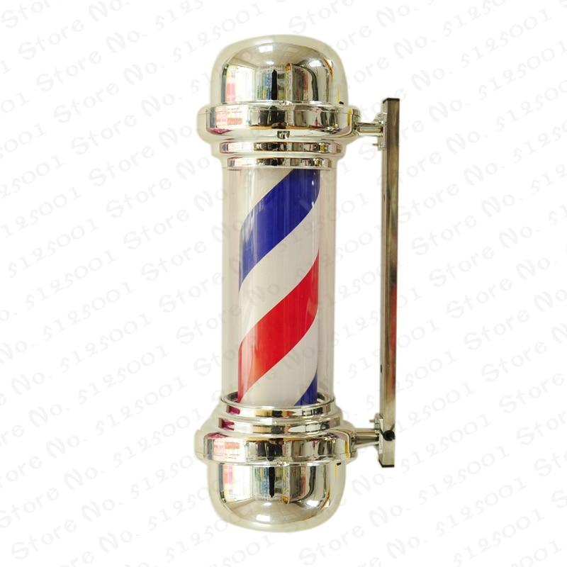 Red White Blue Stripe Rotating Light Stripes Sign Hair Wall Hanging LED Downlights 55cm Barber Shop Pole Rotating Lighting