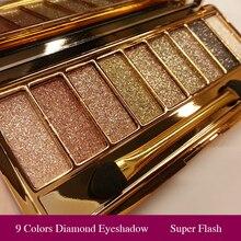 Профессиональные Тени для век палитра для макияжа 9 цветов бриллиантовые яркие блестящие тени для век палитра для макияжа водостойкая с кистью