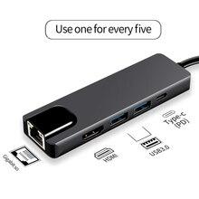 Hot 5 في 1 USB نوع C Hub Hdmi 4K USB C Hub إلى جيجابت إيثرنت Rj45 Lan محول ل ماك كتاب برو Thunderbolt 3 USB C شاحن