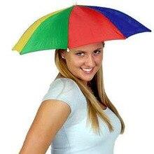 цена 1pcs Portable Umbrella Hat Multicolor Cap Sun Rain Fishing Camping free shipping онлайн в 2017 году