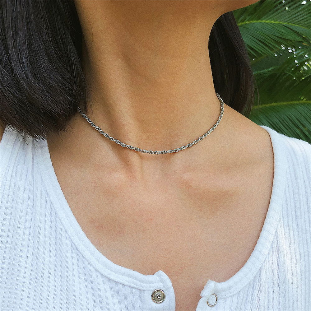 Minimalist Metal Choker Necklace Simple Line Chain Clavicle All-match Accessory Jewelry for Women