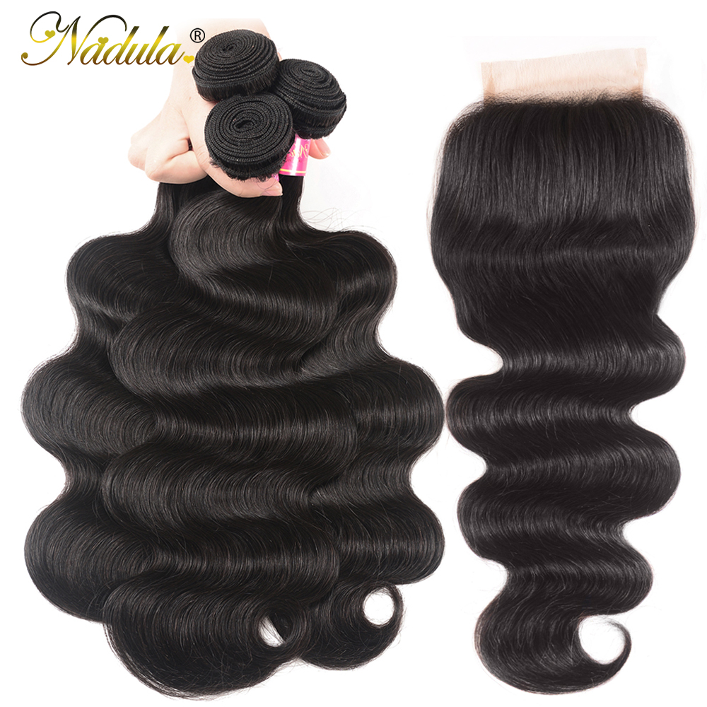 Nadula Body Wave Bundles With 4*4 Free Part/Middle Part/Three Part Lace Closure Indian Hair  Hair Bundles With Closure 3