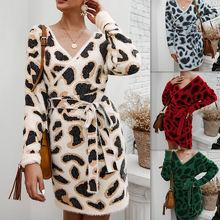 Женское трикотажное платье свитер с леопардовым принтом длинным